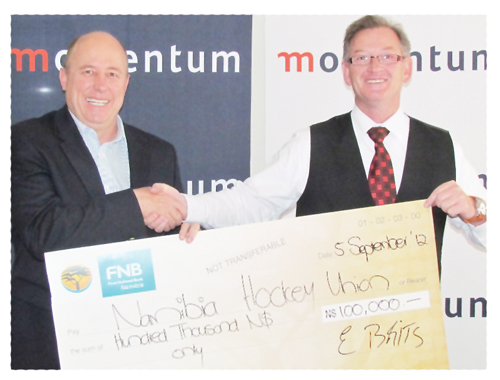 Etienne Brits, CEO of Momentum and Jesse Schickerling, President of the Namibia Hockey Union. Momentum's strong commitment for the upcoming schools hockey tournament, has elevated this junior sport event to a higher niveau.
