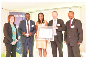 The Deloitte Best Company to Work For 'Large Company' award went to the Ohlthaver & List Group of Companies F.L.T.R. Bea van Rooyen (Deloitte), Berthold Mukuahima, Paulina Shihepo, Sven Thieme (O&L MD) and Junius Mungunda (Deloitte managing partner).