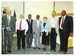 Mike Hill of Namibia Employers Federation, Prof. Roy du Pre, Rector of the Polytechnic, Prof. Tjama Tjivikua, Albius Mwiya, Deputy Director of Labour Market Services at the Ministry of Labour and Social Welfare, Prof. Erika Maass, Director of Academic Affairs at UNAM, Dr. Hylton Villet, Chairperson of the NCCI Skills Development committee and TV Presenter, Lesley Tjiueza formed part of the discussions at the public lecture (Photograph by Hilma Hashange).