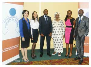 Marlina Kusch, Bonita de Silva, Melki-zedek Uupindi (Chairperson of the Retirement Funds Institute of Namibia), Finance Minister Saara Kuugongelwa-Amadhila, Hilya Nandago and Elvis Nashilongo at the institute's 6th annual conference held earlier this week in Windhoek. (Photograph by Hilma Hashange).