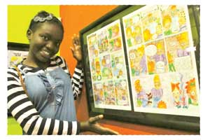 Sixteen year old Milka Ingongo is the youngest artist in the 'Speech Bubble' comic exhibition.