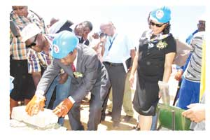 Education Minister Abraham Iyambo and US Ambassador Wanda Nesbitt laying the cornerstone for the Community Skills Development Center at Gobabis. This is the first MCA project in the Omaheke Region, where in total NS90 million of MCA funds will be spent.