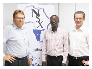 NSX board member, Habo Gerdes, NSX chairman, Sebby Kankondi and NSX CEO designate, Tiaan Bazuin, at the announcement made on Thursday.