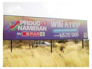 Proudly Namibian got another boost recently when the Spar retail group opted for highly visible billboard advertising stating their Namibian procurement credentials.