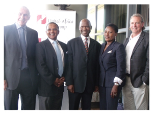 Left to right: executive chairman of Actom, Jack Rowan, executive director of United Africa Group, Haddis Tilahun, group executive direct: strategy of Actom, Andries Tshabalala, chairperson of United Africa Group, Martha Namundjebo-Tilahun and chairman of Actom, Mark Wilson at the launch of Actom Namibia, earlier this week. (Photograph Yvonne Amukwaya)