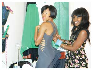 Promising local fashion designer, Salmi Shilongo.