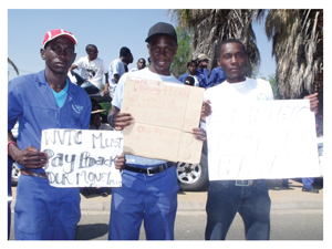 Left to right: Severnus Wandhowili, Matheus Andreas and Janias Andjene, students from the Windhoek Vocational Training School on strike against the the delay of loan pay-outs, corrupt practices by the VTC management and unhygienic hostel conditions. (Photograph Yvonne Amukwaya)