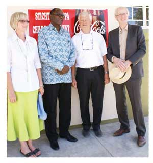 Early Childhood Centre principal, Mari Terblanche with Deputy Minister of Education: Hon. Dr. David Namwandi, chairman of CDF, Ger Kegge and chairman of Stichting Pappa (Dutch foundation supporting CDF), Pieter van den Driest.