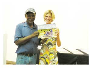 Jan Tsumib, trustee of the Xoms /Omis Project and Ute Dieckmann, author of the book 'Born in Etosha - living and learning in the wild' during the launching of the book.