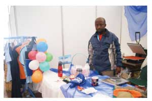 Immanuel Hamunyela, a partner in Modern World Technologie, is one of the SME's exhibitors at the  Namport Erongo Business and Tourism Expo 2012.