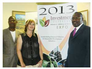 Florida Husselmann, Chief Executive Officer of Arandis Town, Deputy Minister of Trade and Industry, Tjekero Tweya and Daniel Muhuura, Mayor of Arandis at the launch of the Arandis Investment Conference and Mineral, Mining and Energy Expo at the Ministry of Trade and Industry offices early this week. (Photograph by Lorato Khobetsi)