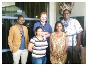 Bringing Namibia to the world, the film makers that will attend the African Diaspora Film Festival in New York are Joel Haikaili, Tim Huebschle, Vickson Hangula, Krishcka Stoffels and Oshosheni Hivelua. They are representing Namibia at one of the world's oldest Diaspora film festivals.(Photographed by Melba Chipepo)
