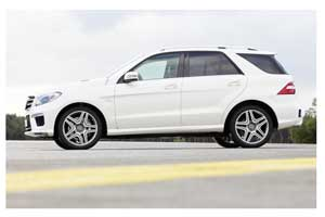 The new Mercedes Benz ML 63 AMG, an exclusive SUV with a V8 biturbo engine.
