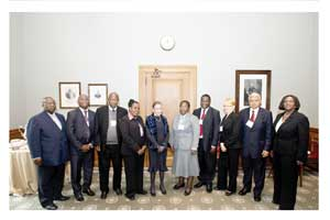 Judge President Petrus Damaseb, on the left, with his African justice colleagues, during their visit to Associate Justice Ruth Bader Ginsburg of the US Supreme Court.