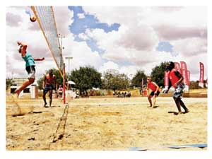 Players taking part in the last tournament of the DTS Maerua SUPERSPAR Beach Volleyball 2012 series over the weekend.