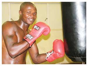 "Namibian Featherweight National Champion, Tommy ""Show"" Nakashimba during training. (Photograph byYvonne Amukwaya)"