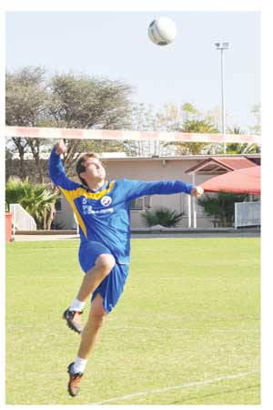 Swakopmund's Stefan Tietz spiking the ball at a recent league event. The SFC stalwart and his team have an outside chance of winning the Bank Windhoek National Fistball Cup tournament which will be played this weekend. (Photograph Contributed)