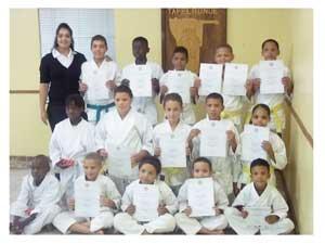 Back row (left to right): Dojo Head, Morchen Kruger, Ryan Kruger (Best Senior Karateka), John Naiteta, Darryl Eiman (Best Performance), Marliyano Tripodi, Stefan Vries, Second row (left to right), Mariana, Shaniqua Hagemann, Ernst Hangen (Best Boys Junior Karateka), Romelo Klazen, Caitlin Louw (Best Girls Junior Karateka). Front row (left to right), Samuel, Lutchiyano Tripodi (Best Kiddies Boys Karateka), Valentiono Louw, Stanfo Kruger (Best Performance), George Klazen. (Photograph Contributed)