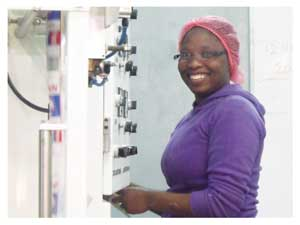 Emerentia Uiras, Plant assistant at the Walvis Bay Salt Refiners.