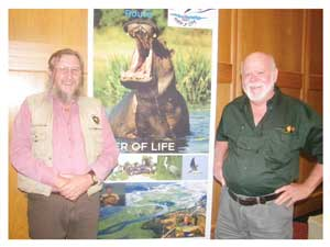 Mark Paxton of Shamvura Camp and Chairman of Kavango Open Africa Route (KOAR) with Cameron Wilson of Nunda Safaris and Lodge at a recent Tourism and Trade Forum held in Windhoek (Photograph by Hilma Hashange)