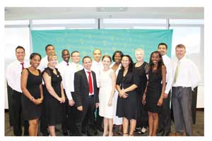 Seventeen middle managers at Old Mutual successfully completed the Management Development Programme of the University of Stellenbosch. The top student in this year's intake is Quinton Potgieter (centre front with red tie).