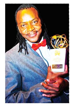 Father, uncle, boxing ring announcer and actor Armas Shivute Armas at the recent Namibia Theatre and Film Awards where he won the award for Best Male Actor Theatre.