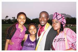 The Swapo Party Youth League (SPYL) Secretary for Information, Publicity and Mobilisation, Job Shipululo Amupanda with his mother Ms Aune Ashivudhi and sisters, Michaela Bishop (oldest) and also Aune Ashivudhi (youngest) at University of Stellenbosch in South Africa after his graduation.