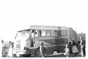 Passengers and freight were carried regularly by bus by the South African Railways Motor Transport Division between villages and towns where no railway lines were available. (Photograph from the Konrad Schüllenbach Collection)