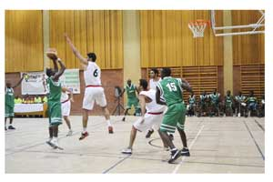 Zambia playing in green succumbed to a 85- 70 defeat in the hands of Egypt on Tuseday at the ongoing FASU games in Windhoek. (Photograph by Yvonne Amukwaya)