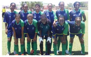 Nangula Amukwaya (Standing right back row) with her team mates at a match earlier this year. (Photograph Contributed)