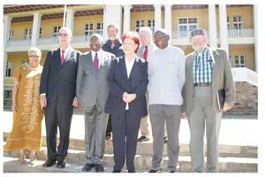 From the left, Hon Lucia Witbooi MP; H.E. Onno Huckmann, Ambassador of Germany to Namibia; Prof Peter Katjavivi MP, Chairman of the Parliamentary Friendship Group; Hon Heidemarie Weiczorek-Zeul MP of the Federal Republic of Germany; Hon Arnold Tjihuiko MP and Hon Anton von Weitersheim MP. At the back are Mr Jakes Jacobs, Secretary to the National Assembly and Mr Michael Schultheiss. Head of FES.