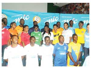 Players and models unveil the new playing gear that the nine teams sponsored by MTC will be wearing. The nine teams are: Tura magic, Tigers, SKW, Civics, Blue Waters, Rundu Chiefs,Ramblers, Mighty Gunners, African Stars. (Photograph by Yvonne Amukwaya)
