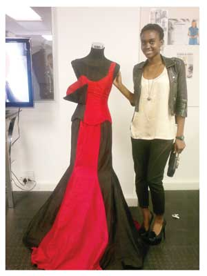 Fashion designer, Monde Sibolile at her graduation collection exhibition. (Photograph contributed)