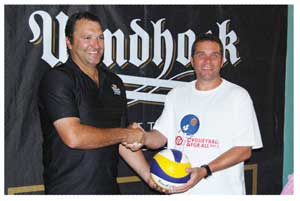 NBL Manager: Sponsorships and Events, Daniel Keulder hands over the NBL sponsorship for the DTS Volleyball-for-All tournament to DTS Chairman, Werner Gouws. (Photograph contributed)