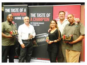 Frans Bwalya, Sales representative, Cobus Bruwer, Managing Director of Castle Brewing Namibia, Rayleen de Koe, Field Sales Manager, Pieter Neethling, National Sales Manager and Rybo Visagie, Sales Representative during the media launching of the new Castle product range (Photograph by Hilma Hashange).