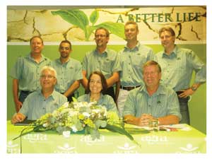 EXCO members: Back: Arnold Klein (General Manager: Retail and Wholesale); Griffort Beukes (Senior Manager: HR); Henning Tiemann (Senior Manager: Properties and Business Development); Titus Koen (General Manager: Livestock); Thomas Bokemuller (Consultant: Brand Strategist); Dagmar Honsbein (General Manager: Professional Services Division) and Flip de Bruyn (General Manager: Finance). (Photograph by Hilma Hashange).