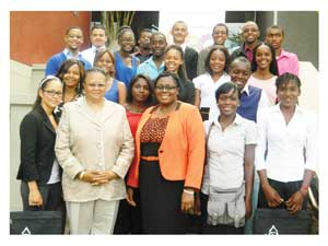 The recipients of the Knowledge Foundations pictured with Frieda Shimbuli, Dean of Students at Polytechnic of Namibia and Nangula Uuandja, Managing Director of PriceWaterHouseCoopers (Photograph by Hilma Hashange)