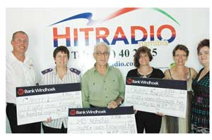 From left to right: Wilfried Hähner (Hitradio Namibia), Sister Nellie Coetzee (CAN),  Kurt Johannesson (MS Namibia), Michaela Tietz (Okanti Foundation), Doris Meyer (Coordinator of Aktion Sonnenstern) and Bianca Stahl (Bank Windhoek).