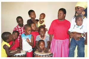 Children from the Oshana Down Syndrome support group with Doris from Omaleshe Dance Drumming.
