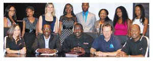 Front (left to right):Shireen Bock (Former TAP candidate), Gideon Shilongo (Group Manager Corporate Relations at O&L Group), Berthold Mukuahima (Human Capital Director at O&L Group), Hubertus Hamm (Managing Director of Namibia Dairies) and Terence Makari (Human Capital Manager at Namibia Breweries). Back (left to right):TAP 2013 intake- Jo-Ann Kloppers, Nangula Iithete, Anneke van der Merwe, Hilda Elago, Neville Hembapu, Helena Taapopi, Innocent Tjimbundu and Imma Hindjou.
