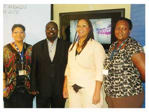 NBC Accounts Executive, Grizelda Dunn, Chief Commercial Officer, Alex Shimuafeni, Head of Corporate Affairs, Umbi Karuaihe-Upi and Malita Timotheus at the launch of the competition.(Photograph by Melba Chipepo).