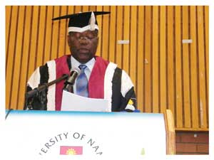 Vice Chancellor of the University of Namibia, Professor Lazarus Hangula speaking at the official opening of University of Namibia.