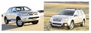 Winners and losers from left to right: Toyato Hilux and Subaru Outback. Toyota Hilux takes poll position in December 2012 with recorded sales of 160 units making it that month's most popular choice among Namibian consumers. Subaru had a hard month with only a single unit sold.
