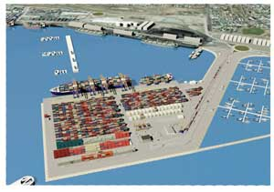 A computer-generated visual of the extended Walvis Bay Port
