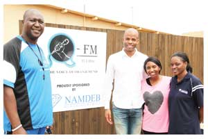 From left to right Naftal Negongo, OFM Station Manager, CRAN CEO, Stanley Shanapinda, Morna Ikosa from CRAN and Pauline Thomas,  Namdeb Brand Manager.