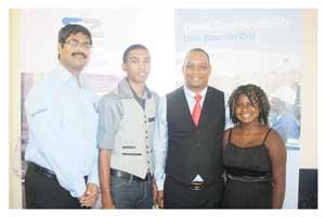 Satish Kumar (General Manager of Skorpion Zinc), Brandon Cloete (bursary recipient), Hon. Bernardus Swaartbooi (Governor of the Karas Region) and Fousy Jaar (bursary recipient).