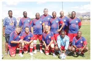 The Namibian Police Force football team led by the Inspector General, Sebastian Ndeitunga at the police fun day last year. (Photograph Contributed)
