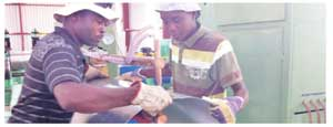Steel drum makers at the Arandis based Yellow Drum Manufacturing Company. (Photograph contributed)