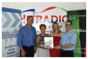 Left to Right: Wilfried Hähner (HitRadio), Sabine Aquilini (Goethe Center), Sybille Rothkegel (HitRadio), Fabian Martens (ATA-International Training Namibia at the launch at the beginning of the month.