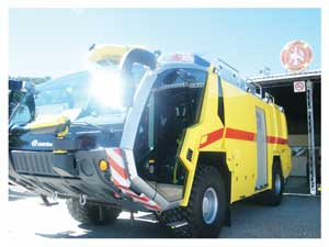 One of two new imported fire trucks (Photograph by Hilma Hashange)